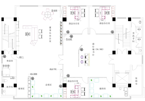 深圳办公室装修案例-董事长办公室平面布局图